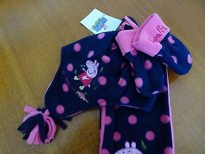 Marks And Spencer Kids Peppa Pig Hat, Scarf, And Mittens Set 6-18 Months New
