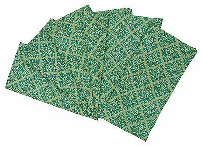 6 x Cotton Fabric Linens Elegant Buta Dinner Table Napkins Green, 20-inch