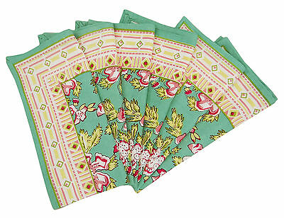 6 x Cotton Fabric Linens Floral Green Dinner Table Napkins, 20-inch