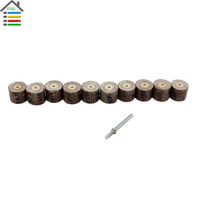 10PC 180 Grit Flap Wheel Sander Disc Replacement Mandrel for Dremel Rotary Tools