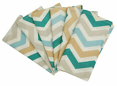 6 x Dinner Table Napkins Multicolor Zig Zag Cotton Fabric Linens, 20-inch