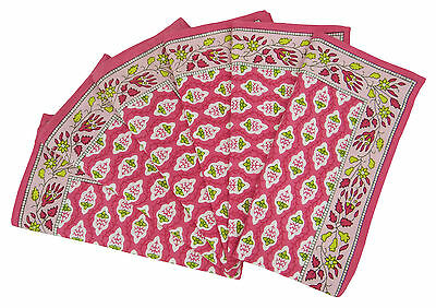 6 x Floral Cotton Fabric Linens Pink Dinner Table Napkins, 20-inch