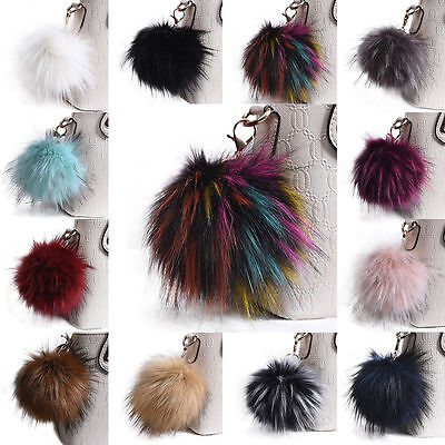 Fluffy Large 13cm Faux Fox Fur PomPom Ball Car Handbag Pendant Keychain Key Ring