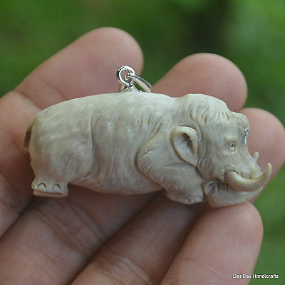 Mammoth Carving 48mm Height Pendant P609 w/ Silver in Antler Hand Carved