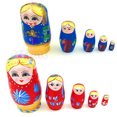 5PCS Wooden Russian Nesting Dolls Babushka Matryoshka Set Hand Painted Gift