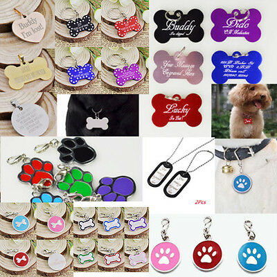 Personalised Engraved Bone Collar Identity Pet Dog Cat Name Disc ID Tag Custom