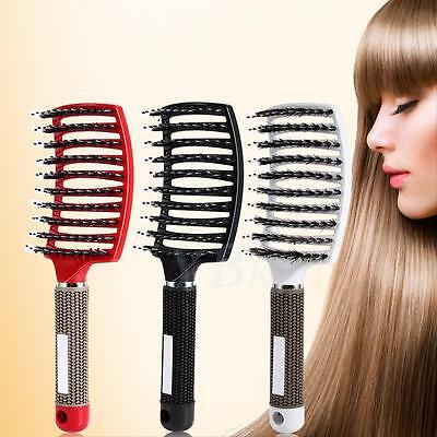 Pro Women Nylon Bristle Detangle Hair Brush Massager Comb Salon Hairdressing Kit