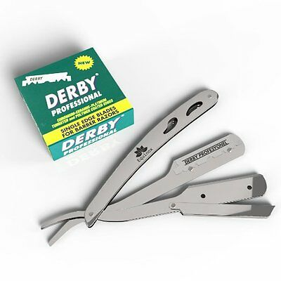 Equinox Professional Barber Straight Edge Razor Safety with 100 Derby Blades