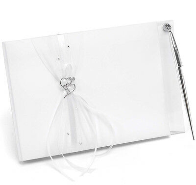 Wedding Guest Book White Satin Wishes Rhinestones Hearts Silver Pen Chiffon