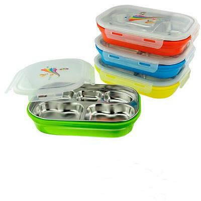 Insulated Thermal Square Food Container Stainless Steel 5 Grid Lunch Bento Box