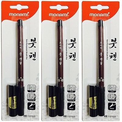 Monami Non-Permanent Fiber-Tip Pen & Refill Ink for Calligraphy/Writing/Sumi/Fud