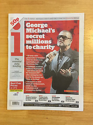 i Newspaper 27th December 2016 reporting death of George Michael