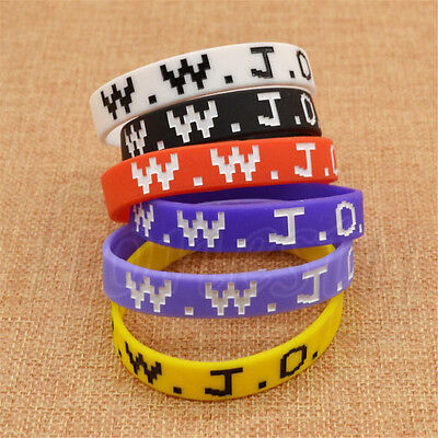 5x WWJD What Would Jesus Do Wristband Silicone Men Women Bracelet Unisex 6 Color