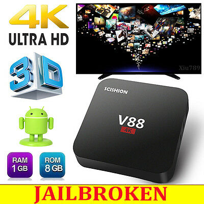 V88 Android 5.1 Smart 4K HD TV Box Quad Core Fully Loaded Media Player