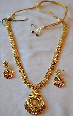 Quality American Diamond Gold Plated Long Chain Earring Jewellery Set Bollywood