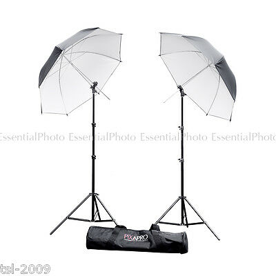 "36"" Twin Black/Silver Umbrella Kit & Single Hot Shoe Speedlite Adapter Studio"