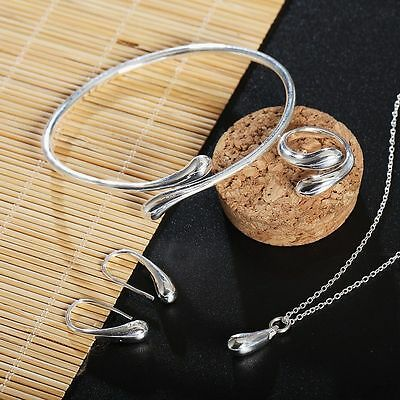 Silver Plated Water Drop Jewelry Set Necklace Ring Earrings Bracelet Bangle