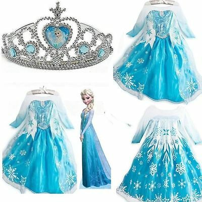 Hot Frozen Elsa Anna Costume Princess Girls Child Fancy Outfit Dress free crown.