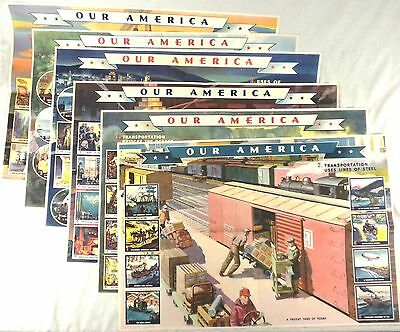 "6 Vintage 1943 Coca-Cola ""Our America"" Posters: Electricity & Transportation"