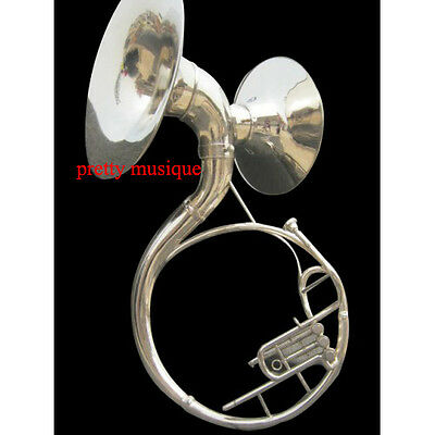 "Sousaphone Double Bel Sound (22"" +16"" Bell)In Chrome Silve +Free Case & Mouthpc"