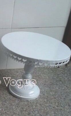 14 Inch 35cm White Iron Metal Cupcake Cake Stand With Crystal Pendants Chains