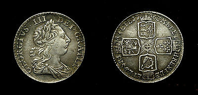 Great Britain - Shilling 1763 - king George III , silvered/ pls/see discription