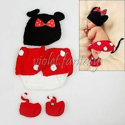 2015 New Baby Crochet Knit Costume Cartoon Mouse Hats Diapers Baby Outfits Sets