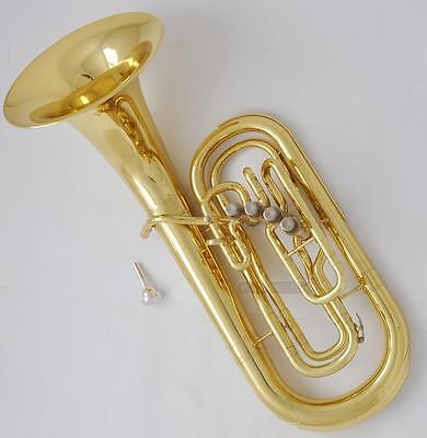 Professional Golden Lacquer 4 Front Action Piston Marching Euphonium Horn 302mm