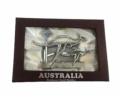 Australian Souvenir Business Card Holder w Box Gift Home Office Décor-Kangaroo