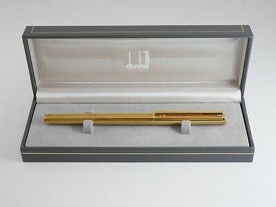dunhill Gemline Gold Plated Pinstripe Fountain Pen F (Excellent)