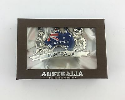Australian Souvenir Business Card Holder w Box Gift Home Office Décor-Map
