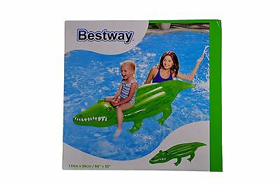 New Bestway Inflatable Crocodile Rider Swim Ring Water Rafts Toy Pool Float