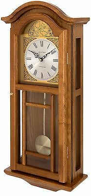 Oak Coloured Solid Wood Pendulum Wall Clock Westminster Chimes Fox And Simpson