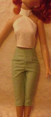 "Green Capri Pants and White Halter for 18"" Kitty Collier or Miss Seventeen"