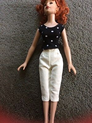 "White Capris And Polka Dot Blouse for 18"" Kitty Collier or Miss Seventeen"