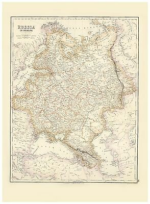 Old Vintage Decorative Map of Russia in Europe Fullarton 1872