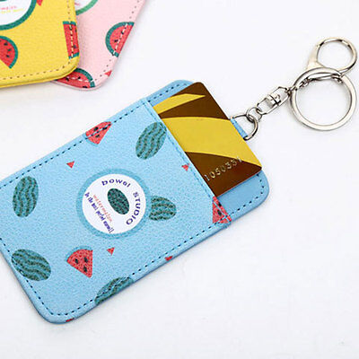 PU Leather ID Name Bank Credit Travel Bus Pass KeyChain 1-Slot Card Holder Case