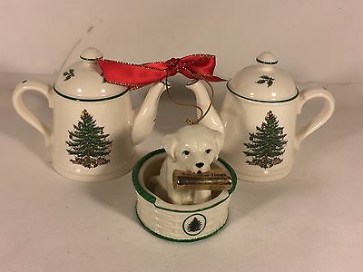 Spode DOG IN BASKET WITH NEWSPAPER, Salt Pepper TEAPOT S&P Shakers LOT 3pcs