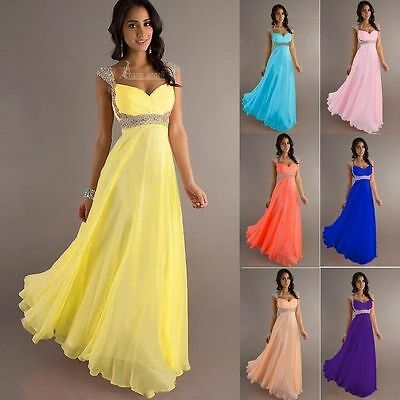 New Long Chiffon Evening Formal Party Ball Gown Prom Bridesmaid Dress 6~18