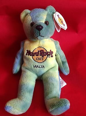 HRC Hard Rock Cafe Monty Beara Malta Blue WITH TAG Collectable Bear Beanie