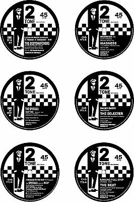 Ska 77mm Round Exterior Vinyl Decals 2Tone RudeBoy 45rpm Single Centres x6/ 1st