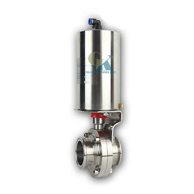 """3-1/2"""" Tri Clamp Sanitary Butterfly Valve With Pneumatic Actuator SUS304 Clamp"""