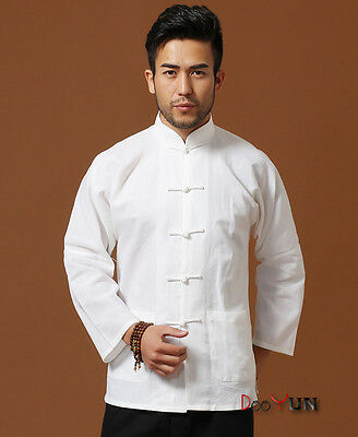 White Brand New Arrival Chinese Men's Cotton Linen Kung Fu Jacket Coat S-3XL