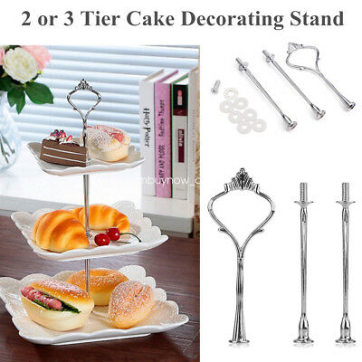 2/3Tier Cake Cupcake Plate Stand Crown Handle Fitting Rod Rack Wedding Party* UK