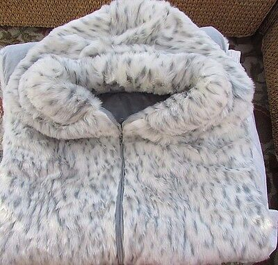 Pottery Barn Pb Teen Faux Fur Sleeping Bag W/ Hood, Gray Leopard, Sold Out @pbt