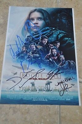 "Star Wars Rogue One Multi Signed By 7 12"" x 8"" Photo Mads ,Donnie ,Diego,Ben +3"