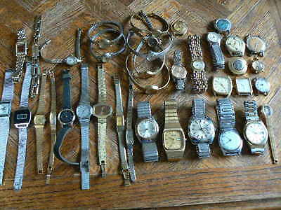 Vintage watch lot for repair (37 watches) very nice lot of watches (great brands