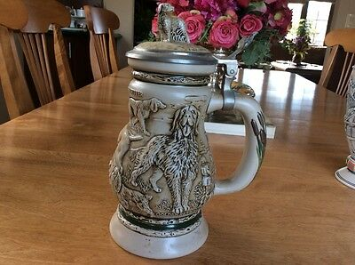 Avon Collectible Stoneware Beer Stein 1991 GREAT DOGS OF THE OUTDOORS #46385