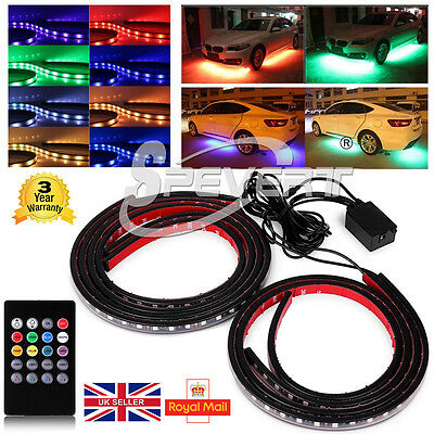 4X RGB Undercar Underbody Glow Strip Light Car LED Neon Chassis Lamp + Remote