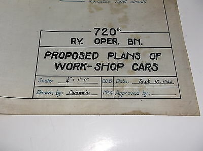 720th Railway Operations  Battalion 1944 Proposed Plans, Work Shop Cars